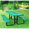 Picture of Rectangular Thermoplastic Picnic Table 6 foot Attached Seats Plastic Coated Rolled Large Perforated Steel with Welded 2 3/8 In. Galvanized Steel, Commercial