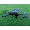 Picture of Rectangular Thermoplastic Picnic Table 6 Ft. Attached Seat Plastic Coated Rolled Large Perforated Steel with 4 In. Galvanized Steel Pedestal In-Ground Mount