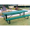 Picture of Rectangular Picnic Table 6 Ft. Attached Seat Plastic Coated Expanded Metal with Welded 2 3/8 In. Galvanized Steel, Portable