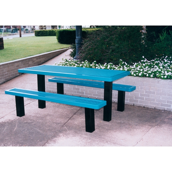 Picture of Rectangular Thermoplastic Picnic Table 6 Ft. Unattached Seats Plastic Coated Expanded Metal with with 4 In. Square Galvanized Steel, In-Ground Mount