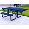 Picture of ADA Wheelchair Accessible Rectangular Picnic Table 6 Ft. Attached Seats Plastic Coated Expanded Metal with Welded 2 3/8 In. Galvanized Steel, Portable