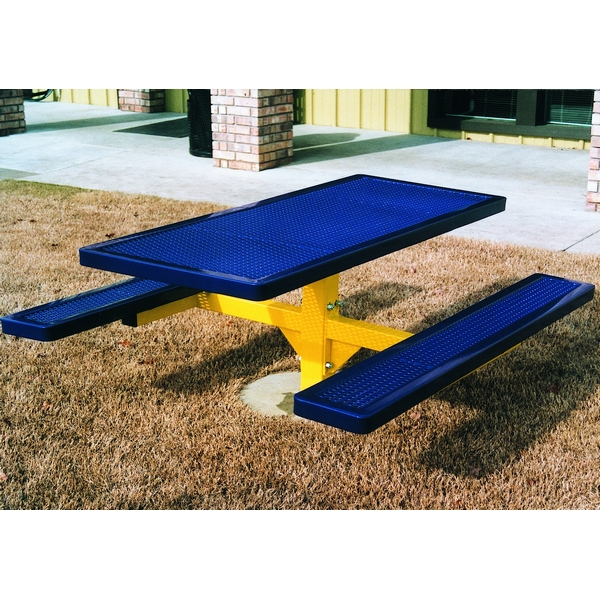Picture of Rectangular Thermoplastic Picnic Table 6 Ft. Attached Seats Plastic Coated Expanded Metal with Single 4 In. Square Pedestal, In-ground Mount