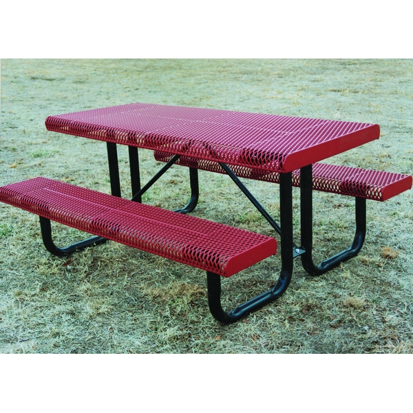 Picture of Rectangular Thermoplastic Picnic Table 6 Ft. Attached Seats Plastic Coated Rolled Expanded Metal with Welded 2 3/8 In. Galvanized Steel, Portable
