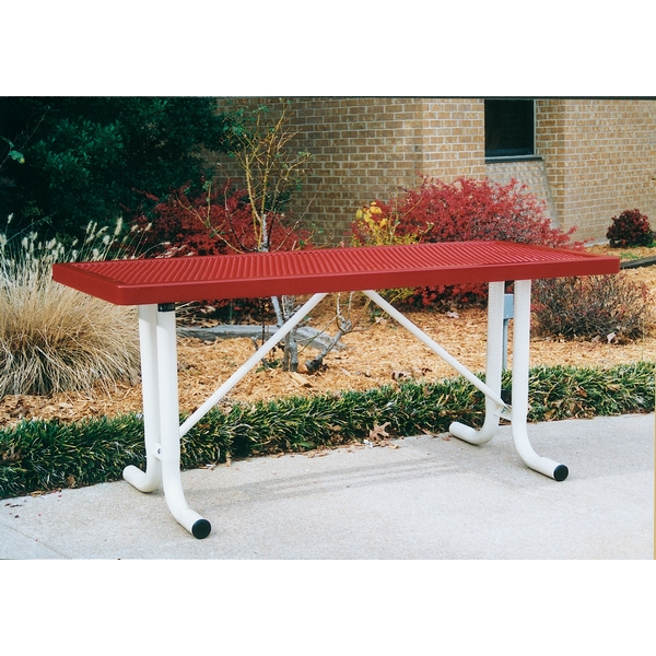 Picture of Rectangular Thermoplastic Table 6 Ft.  Plastic Coated Expanded Metal with Welded 2 3/8 In. Galvanized Steel, Portable