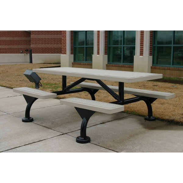 Picture Of Rectangular Thermoplastic Picnic Table 7 Ft Attached Seats Plastic Coated Small Perforated Steel