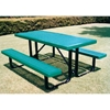 Picture of Rectangular Picnic Table 8 Ft. Attached Seats Plastic Coated Small Perforated Steel with Welded 2 3/8 In. Galvanized Steel, Portable