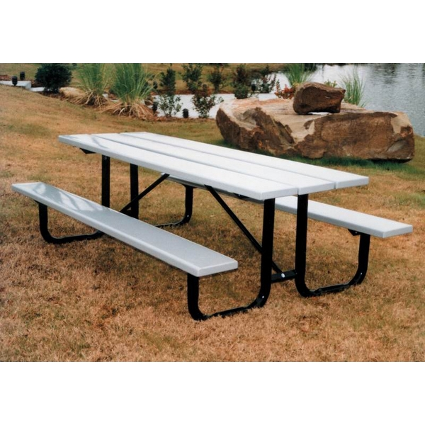 Picture of Rectangular Picnic Tables 8 Ft. Attached Seats Recycled Plastic with Welded 2 3/8 In. Galvanized Steel, Portable