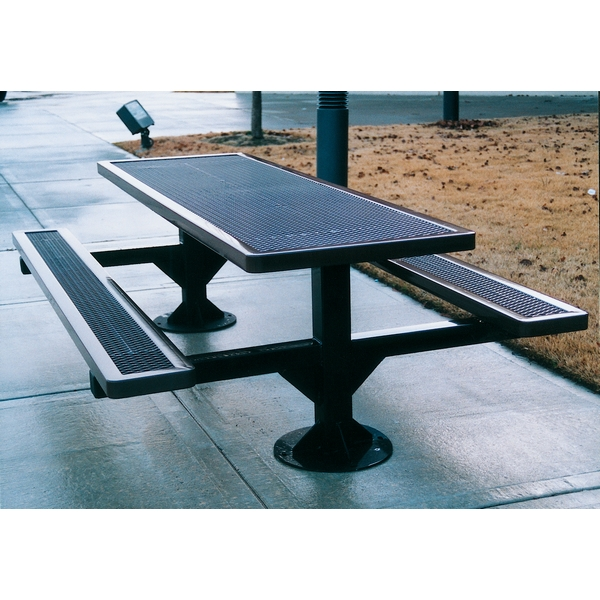 Picture of Rectangular Picnic Table 8 Ft. Attached Seats Plastic Coated Expanded Metal with 4 In. Galvanized Steel Pedestal, Surface Mount