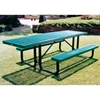 Picture of ADA Wheelchair Accessible Rectangular Picnic Table 8 Ft. Attached Seats Plastic Coated Expanded Metal with Welded 2 3/8 In. Galvanized Steel, Portable