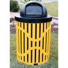 Picture of Classic Trash Receptacle 32 Gallon Plastic Coated Ribbed Steel Includes Liner and Dome Top