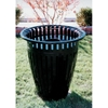 Picture of Crown Trash Receptacle 32 Gallon Plastic Coated Tapered with Flared Top Ribbed Steel Includes Liner and Crown Flat Top