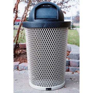 Picture of Tapered Trash Receptacle 32 Gallon Plastic Coated Expanded Metal Includes Liner and Dome Top