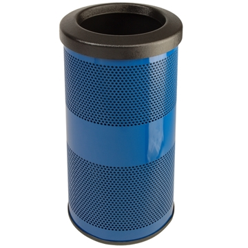 Picture of Trash Receptacle Round 10 Gallon Powder Coated Steel with Flat Top, Portable