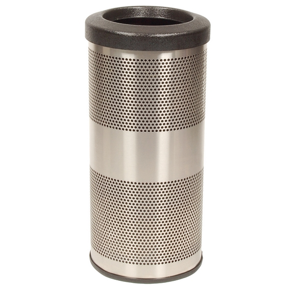 Picture of Trash Receptacle Round 10 Gallon Stainless Steel with Flat Top, Portable