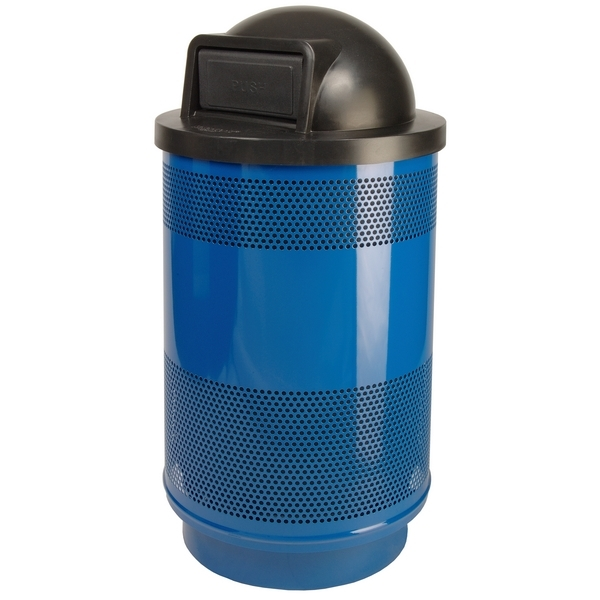 Picture of Trash Receptacle Round 55 Gallon Powder Coated Steel with Dome Top, Portable