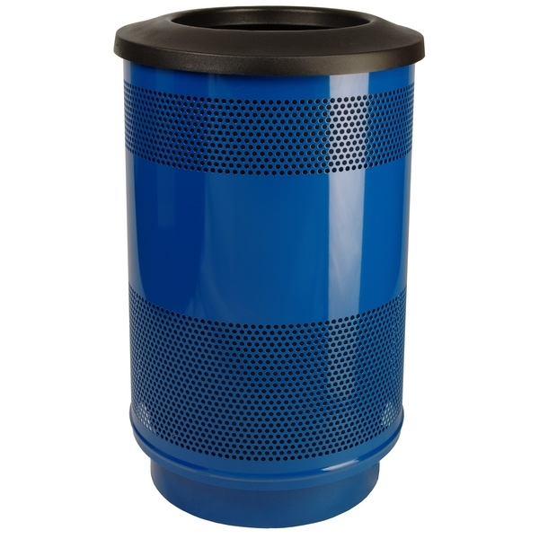 Picture of Trash Receptacle Round 55 Gallon Powder Coated Steel with Flat Top, Portable