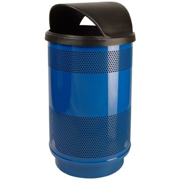 Picture of Trash Receptacle Round 55 Gallon Powder Coated Steel with Hood Top, Portable
