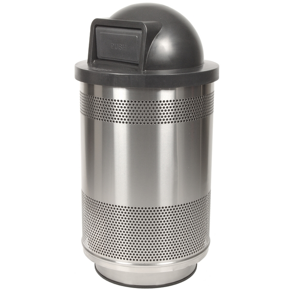 Picture of Trash Receptacle Round 55 Gallon Stainless Steel with Dome Top, Portable