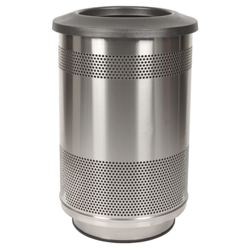 Picture of Trash Receptacle Round 55 Gallon Stainless Steel with Flat Top, Portable