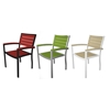 Picture of Polywood Euro Style Dining Chair Recycled Plastic Polywood Slats with Aluminum Frame. Set of 2.