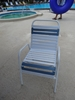Picture of St. Maarten Vinyl Strap Dining Chair. Commercial Pool Furniture Made with Aluminum Frames & Vinyl Straps.