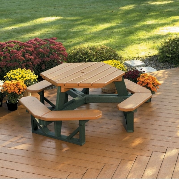 Picture Of Hexagonal Recycled Plastic Picnic Table With Attached Benches 258 Lbs