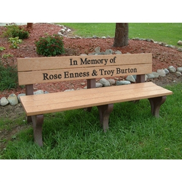 Picture of Custom Memorial Logo Park Bench with Back, Recycled Plastic, 4 ft., 6 ft., 8ft. - 98 lbs.