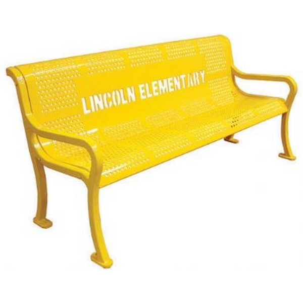 Custom Logo School Bench Roll Formed Contour Bench 5 foot Plastic Coated Perforated Metal
