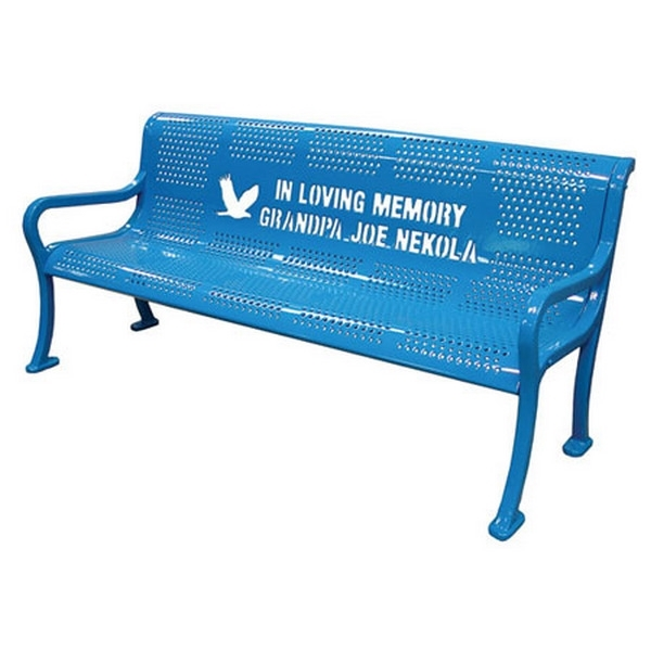 8 Ft. School Logo Memorial Benches are custom Logo Roll Formed Contour Bench Plastic Coated Perforated Metal