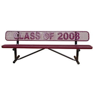 4 Ft. School Logo Memorial Benches with Back Plastic Coated Expanded Steel