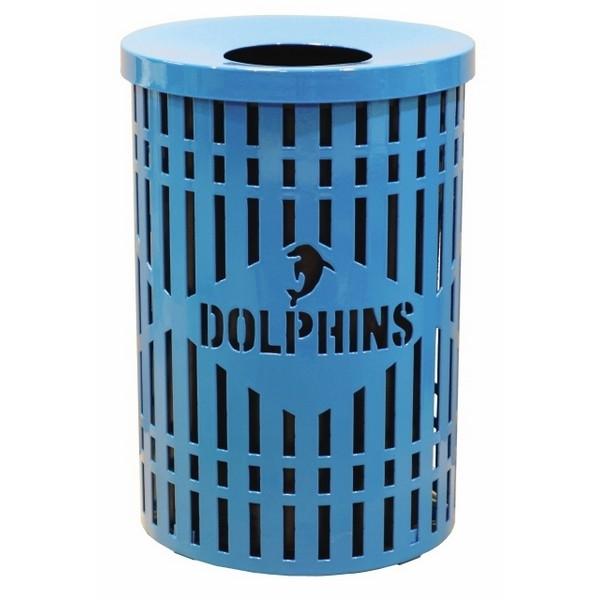 Logo 32 Gallon Plastic Coated Steel Round Diamond Pattern Trash Receptacle