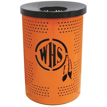 Custom Logo Round Perforated Trash Receptacle 32 Gallon Plastic Coated Perforated Metal