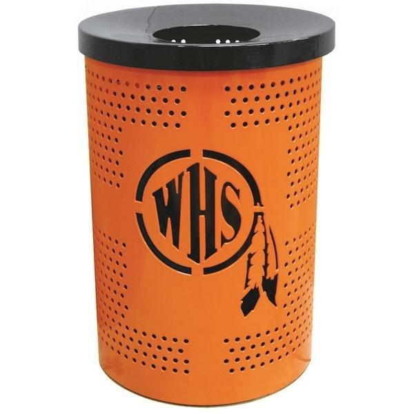Custom Logo Round Perforated Trash Receptacle 32 Gallon Plastic Coated Perforated Metal
