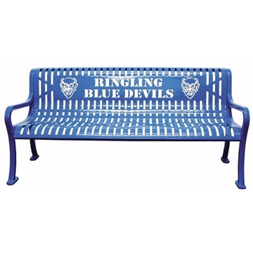 4 Ft. Custom Logo Roll Formed Diamond Contour Bench, Plastic Coated Steel