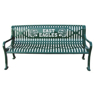 5 Ft. Custom Logo Roll Formed Diamond Contour Bench Plastic Coated Steel