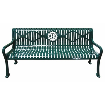6 Ft. Custom Logo Roll Formed Diamond Contour Bench Plastic Coated Steel