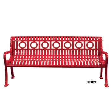 Ring Bench Roll Formed Diamond Contour Bench 6 foot Plastic Coated Steel with Cast Iron Legs