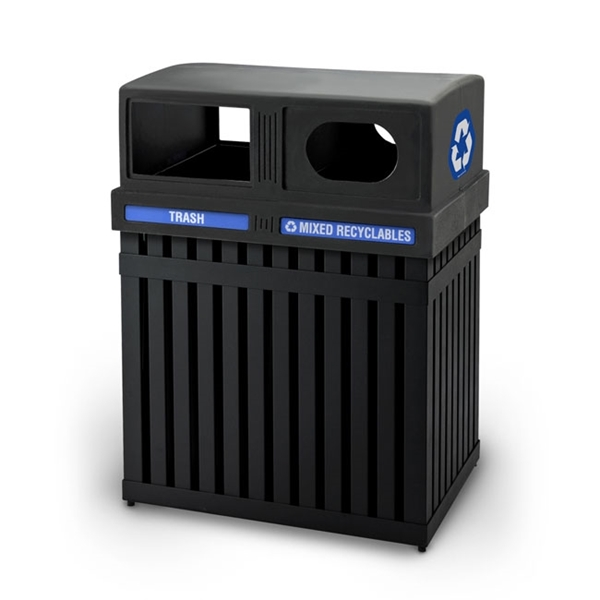 Combo Trash/Recycle ArcTec Double Sided Receptacle, 100 Lbs.