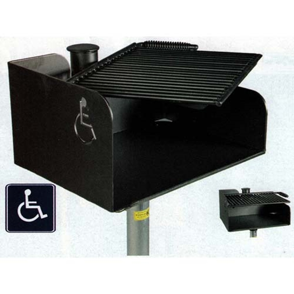 """Picture of ADA Wheelchair Accessible Park Grill, 300 Sq in. Swivel Cooking Surface, 3/16"""" Steel Body, 80 Lbs."""