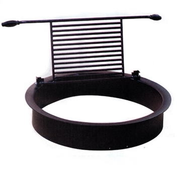 "Picture of 32"" Round Fire Ring, Removable Flip Grate, Cool-Grip Handles,  60 Lbs."
