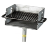 Picture of Galvanized Park Grill with Flip Style 300 Square In. Cook Surface with Galvanized Welded Steel with 2 3/8 In. Pedestal, In-Ground Mount