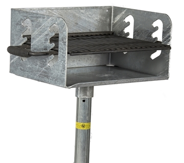 "Picture of Park Grill 300 sq. in. Galvanized Welded Steel, In-ground, 2 3/8"" Pedestal"