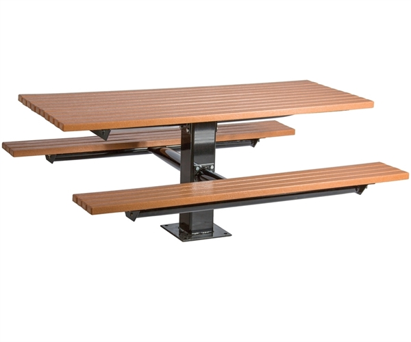 Picture of Rectangular Wooden Picnic Tables Picnic Table 6 Ft. with 6' Center Post, In-Ground Mount