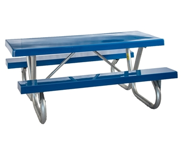 Rectangular Fiberglass Picnic Tables 8 foot with Bolted 2 3/8 In. Galvanized Tube