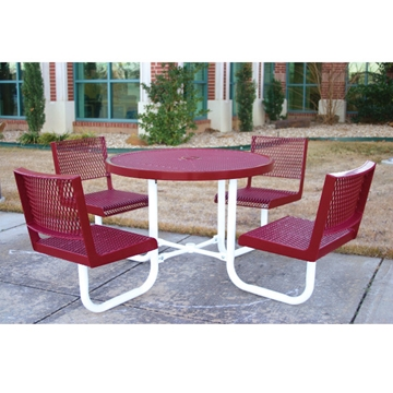"""Picture of Round Thermoplastic Picnic table 42"""". Attached Round Seats with Backs Plastic Coated Expanded Metal with Welded 2"""". Galvanized Steel, Commercial"""