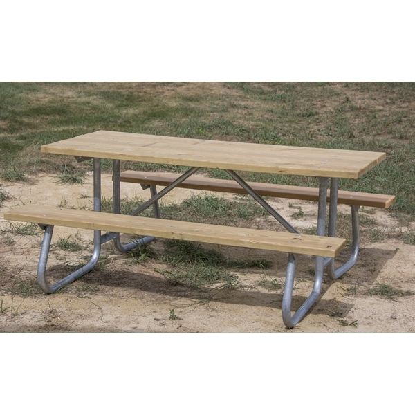 Wondrous Rectangular Wooden Picnic Table 12Ft Wooden Planks With Welded 1 5 8 In Galvanized Steel Portable Gamerscity Chair Design For Home Gamerscityorg
