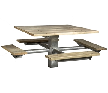 Picture of Single Post Square Wooden Picnic Tables 48 In. Wooden with Galvanized 6 In. Square In-Ground Pedestal
