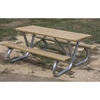 Picture of Rectangular Wooden Picnic Tables 6 foot Wooden with Bolted 2 3/8 In. Galvanized Tube, Portable