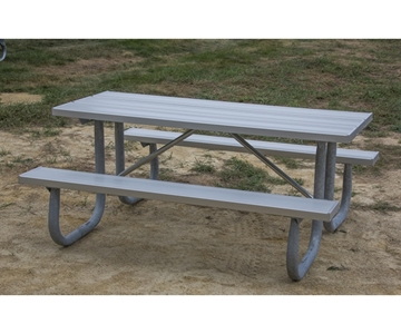 Picture of Aluminum picnic table 6 Ft. Rectangular with 2 3/8 In. Welded Galvanized Steel Frame, Portable