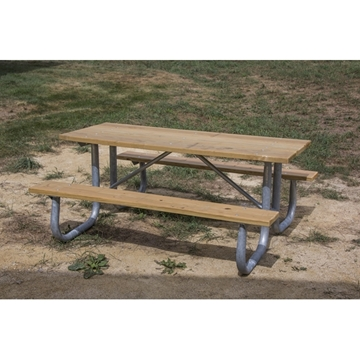 Picture of Rectangular Wooden Picnic Tables 6 Ft. with 2 3/8 In. Galvanized Steel, Portable